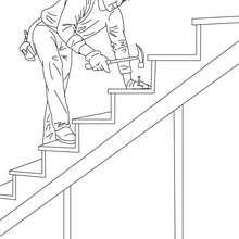 Desenho para colorir de um Carpinteiro fazendo uma escada de madeira