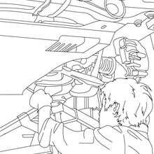 Desenho de um mecânico concertando um carro para colorir