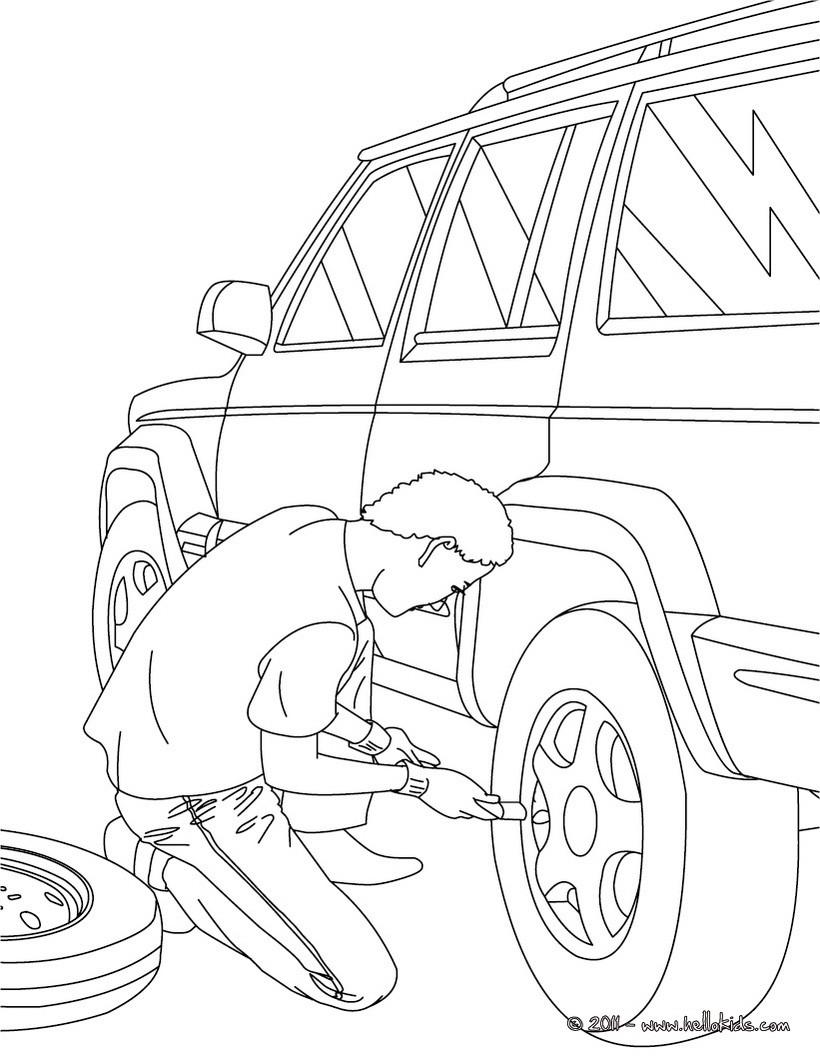 desenhos para colorir de desenho de um mecânico trabalhando para
