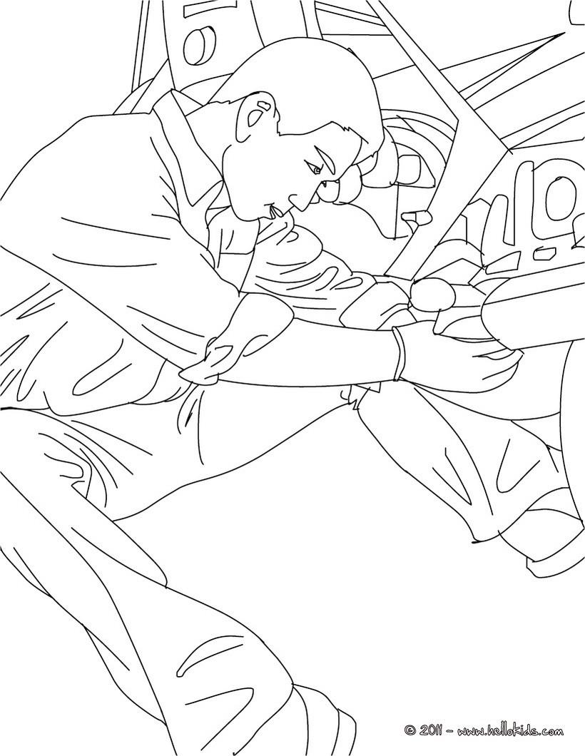 desenhos para colorir de desenho de um mecânico rebocando um carro