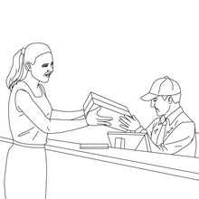 Desenho de um carteiro enviando um pacote para colorir