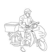 Desenho de um carteiro na sua bicicleta dos correios para colorir