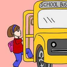 Quebra-cabeça deslizante de um ônibus escolar