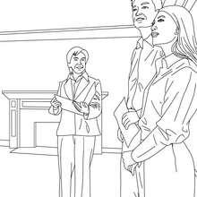 Desenho de um Agente imobiliário com compradores de casas para colorir