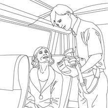 Desenho de um controlador de bilhetes de trem para colorir