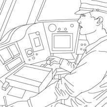 Desenho de um maquinista de trem para colorir
