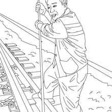 Desenho para colorir de um homem mudando o trilho do trem