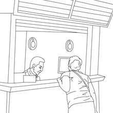 Desenho de um agente da estação de trem para colorir