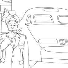 Desenho  para colorir de um Chefe de estação de trem