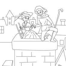 Desenho da pastora e o limpador de chaminés para colorir