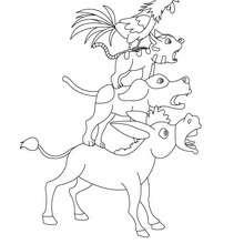 Desenho do conto os músicos de Bremen para colorir