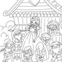 Desenho da Branca de neve e os 7 anões para colorir