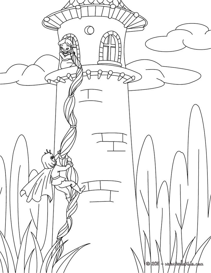 Desenho do conto Rapunzel dos irmãos Grimm para colorir