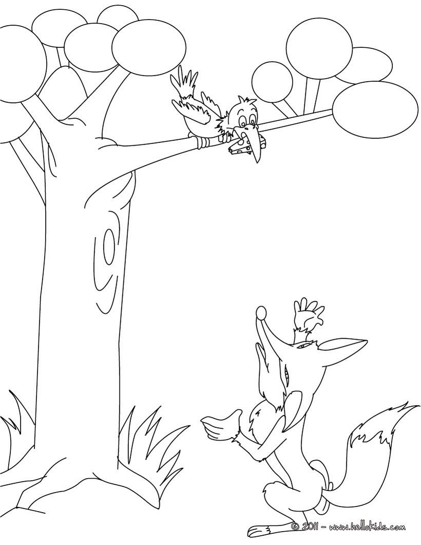Desenho do CORVO E A RAPOSA para colorir