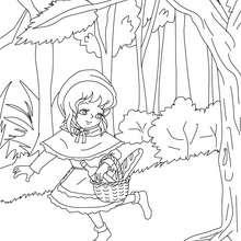 Desenho do conto de fada do CHAPEUZINHO VERMELHOpara colorir