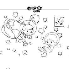 Desenho para colorir de Chloe no espaço