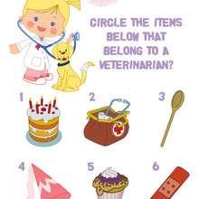 Encontre os utensílios do veterinário com a Chloe