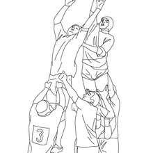 Desenho de jogadores de RUGBY em plena ação
