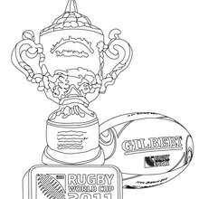 Desenho do TROFÉU da copa do mundo de Rugby para colorir