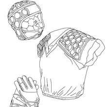 Desenho do capacete de Rugby, das luvas e do colete de proteção para colorir
