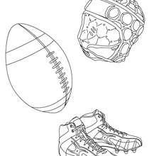 Desenho da bola de Rugby, das chuteiras e do capacete para colorir