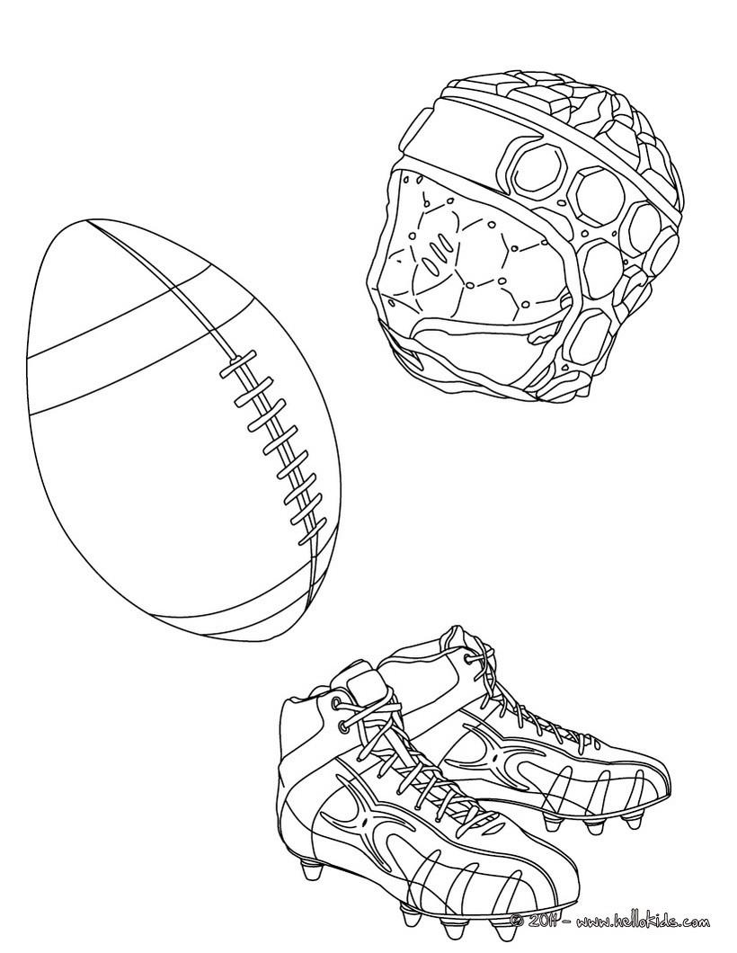 Desenhos Para Colorir De Desenho Da Bola De Rugby Das Chuteiras E