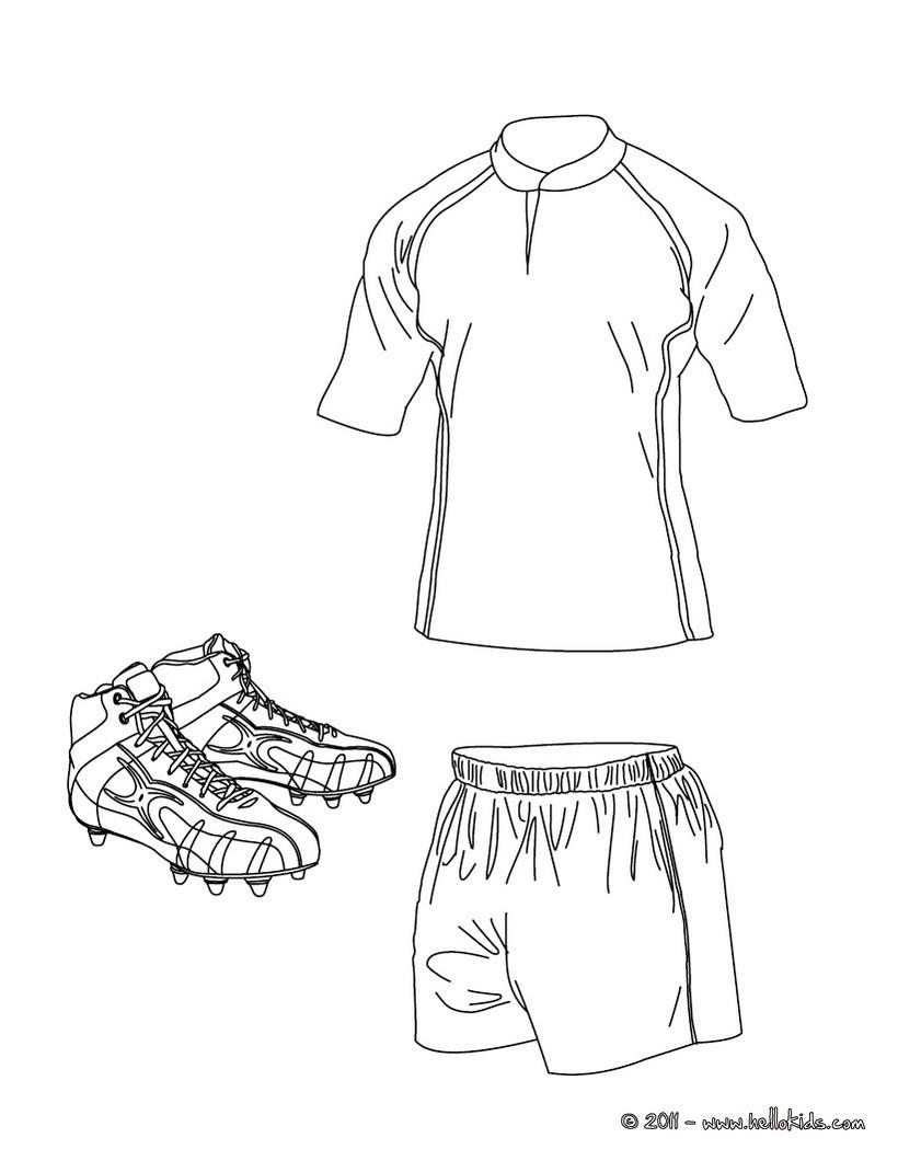 Desenhos Para Colorir De Desenho Da Camisa De Rugby Shorts E