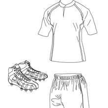 Desenho da camisa de Rugby, shorts e chuteiras para colorir
