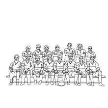 Desenho de um time de Rugby para colorir