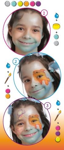 Pintura facial de peixe para crianças