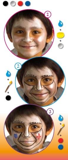 Pintura facial de CAVALEIRO para menino