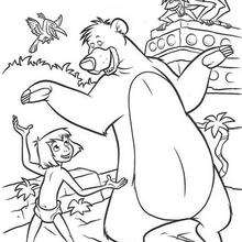 Colorindo Mogli e Balu dançando na floresta