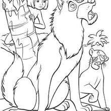 Mogli e o lobo, para colorir