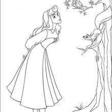 A princesa Aurora cantando com os passarinhos
