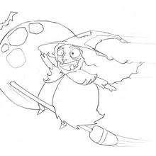 Desenho de uma velha Bruxa para colorir