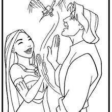 Desenho da Pocahontas com o John e o Flit  para colorir