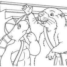 Desenho do Franklin com seu amigo Castor para colorir