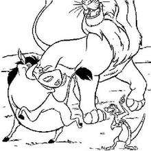 Simba, Timon e Pumba dançando Hakuna Matata