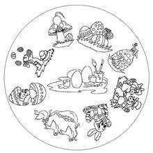 Desenho de um Mandala com o tema da páscoa para colorir