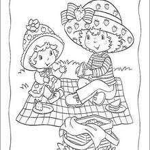 Moranguinho e Maçãzinha fazendo um piquenique