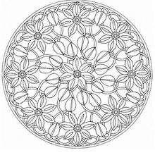 Mandala de flores e buzios para colorir