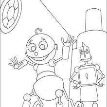 Desenho do Rodney Lataria com um bebê robô para colorir