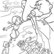 O Urso Balu salvando Mogli e a menina do tigre Shere Khan, para colorir