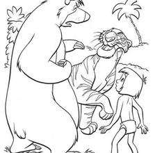 Shere Khan o tigre com Balu e Mogli, para colorir