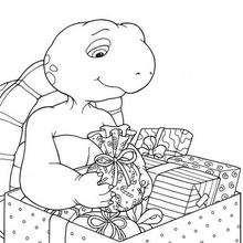 Desenho do Franklin com presentes de natal para colorir