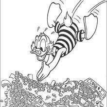 Tio Patinhas mergulhando no dinheiro