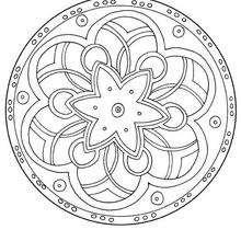 Mandala com flores para colorir