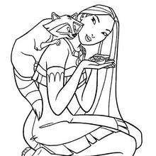 Desenho da Pocahontas com o Meeko para colorir