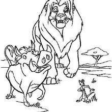 Simba andando com Timon e Pumba