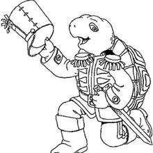 Desenho do Franklin fantasiado de soldado para colorir